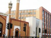 East London Mosque & London Muslim Centre - angled view from Whitechapel Road.