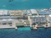 Aerial view of Thilafushi-2, depicting the most heavily industrialized area. Photographed in December 2004.