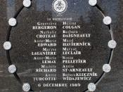 Plaque on the exterior wall of École Polytechnique commemorating the victims of the massacre. Memorial plate on the side of École Polytechnique.