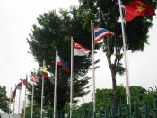 English: The flags of Association of Southeast Asia Nations (ASEAN) members in ASEAN headquarter at Jalan Sisingamangaraja No.70A, South Jakarta, Indonesia. From left the flags of: Brunei, Cambodia, Indonesia, Laos, Malaysia, Myanmar, Philippines, Singapo