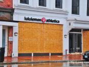 Lululemon Athletica Store Boarded Up - Frankenstorm - Hurricane Sandy