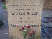 Monument near Blake's unmarked grave at Bunhill Fields in London