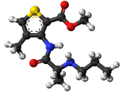 Ball-and-stick model of the articaine molecule, a dental local anesthetic. Colour code (click to show) : Black: Carbon, C : White: Hydrogen, H : Red: Oxygen, O : Blue: Nitrogen, N : Yellow: Sulfur, S