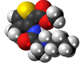 Space-filling model of the articaine molecule, a dental local anesthetic. Colour code (click to show) : Black: Carbon, C : White: Hydrogen, H : Red: Oxygen, O : Blue: Nitrogen, N : Yellow: Sulfur, S
