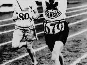 Jean Thompson of Canada (right) competing in the women's 800 meters race at the VIIIth Summer Olympic Games / Jean Thompson (à droite), du Canada, participant à l'épreuve du 800 mètres femmes, aux VIIIe Jeux Olympiques d'été