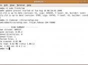 GNOME Terminal running Clam AV 0.95.2, identifying a Trojan