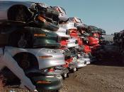 English: Piles of crushed GM EV1 electric cars