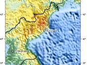 English: earthquake at 41.306°N, 129.029°E (North Korea) related to news that North Korea had performed a nuclear test which has been confirmed by both North Korea and Russia. Event-ID: us2009hbaf location: 70 km (45 miles) NNW of Kimchaek, North Korea ti