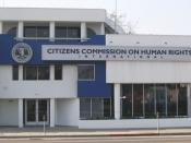 English: A facility of the Citizens Commission on Human Rights on Sunset Boulevard in Hollywood, California. The large posters in the window depict the face of man in apparent agony and the text,