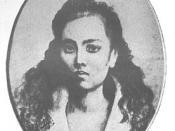 A crayon sketch of Leonor Rivera, the basis of the Maria Clara character in José Rizal's Noli Me Tangere.