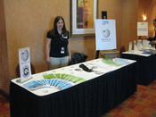 English: Public Policy Initiative Communications Associate LiAnna Davis at the Wikimedia Foundation's booth at the American Political Science Association Teaching and Learning Conference, Albuquerque, New Mexico.
