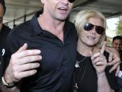English: Hugh Jackman with wife Deborra-Lee Furness arriving at Mumbai International Airport to attend FICCI's FRAMES.