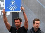 From left to right on stage: Hugh Jackman and Ryan Reynolds at the X-Men Origins: Wolverine premiere in Tempe, Arizona.