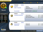 The main user interface of Norton Internet Security 2009