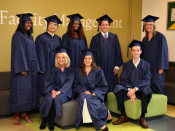 English: The picture shows 8 students who graduated from the School of Facility Management at the Hanze University Groningen
