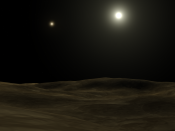 English: This image was created in Lightwave, it depicts the view from a hypothetical planet orbiting Alpha Centauri A, Alpha Centauri B is clearly seen in the background, as the dimmer star.