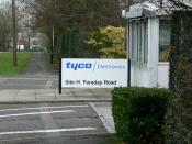 English: Tyco Electronics, Site H, Dorcan, Swindon This plant used to be known as 'Raychem', an American company, as is Tyco. Tyco is a conglomerate which expanded rapidly in the 1990s. 'Tyco' was referred to by some as 'Take Your Company Over'. Its forme