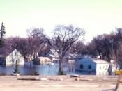 A residential neighborhood in East Grand Forks, Minnesota flooded after the 1997 Red River flood