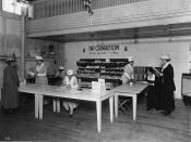 Photo tentatively identified as the information desk (foods) at the 1917 state fair.