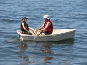Rowboat with oars and two passengers.