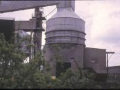 English: Rockware Glass Works, 1973. From the canal towpath. A very noisy spot - I think there was a conveyor here carrying recycled bottles to their doom