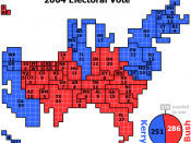 English: Cartogram of 2004 Electoral Vote for US President, with each square representing one electoral vote. Note that the 286 votes for Bush plus the 251 votes for Kerry are one vote short of the 538 total electoral votes. This is because one elector in