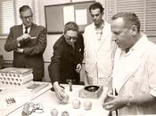 Mahendra of Nepal (second from left) in a visit to Israeli Weizmann Institute of Science, Rehovot, 1958