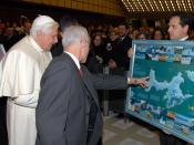 H.H. Benedict XVI presented with the 2005 Bulgarian map of Livingston Island, Antarctica