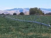 Wheel line irrigation system in Idaho. 2001. Photo by Joel McNee, USDA Natural Resources Conservation Service.