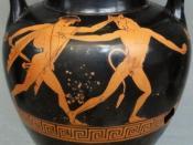 Illustration of Theseus slaying the Minotaur on a neck-amphora. Circa 460 BC.