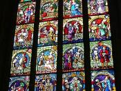 Stained Glass window from Berne Muenster (Cathedral). This series of images represent death claiming people from all walks of life. These images were very common during the Black Death in Europe.