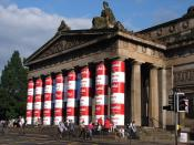 English: Royal Scottish Academy column decorated with Andy Warhol's Campbell Soup Can