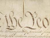 English: Detail of Preamble to Constitution of the United States Polski: Fragment preambuły Konstytucji Stanów Zjednoczonych