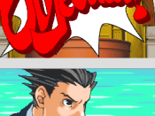 Phoenix Wright issues an objection at the witness during a court case; the