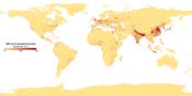 This image shows the number of people per square kilometer around the world in 1994. The data were derived from population records based on political divisions such as states, provinces, and counties. Converted from TIFF to PNG with tifftopnm and pnmtopng