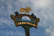 The village sign for Debenham in Suffolk