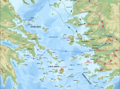 English: Bathymetric/Topographical map of the Aegean area in c.500 BC, showing major events of the Ionian Revolt. UTM projection; WGS84 datum ; shaded relief Scales: *Topography: 1:608,000 (precision 152 m) *Bathymetry: 1:7,512,000 (precision 1,878 m)