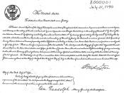 The first U.S. patent, issued to Samuel Hopkins on July 31, 1790, for an innovative way of making