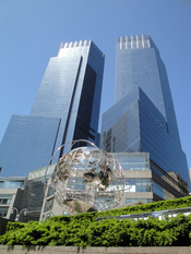 English: The Time Warner Center as viewed from Central Park West. The globe from the Trump International Hotel and Tower can also be seen.