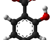 Ball-and-stick model of the salicylic acid molecule, C 7 H 6 O 3 , from the crystal structure. Crystal structure by X-ray diffraction from Acta Cryst. (2006). B62, 612-626. Model constructed in CrystalMaker 8.1. Image generated in Accelrys DS Visualizer.