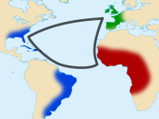 English: Triangular trade between western Europe, Africa and Americas. Français: Commerce triangulaire entre l'Europe occidentale, l'Afrique subsaharienne et les Amériques.