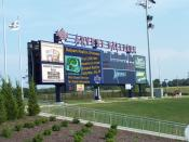 An image of the scoreboard in Arvest Ballpark, home to the Northwest Arkansas Naturals.