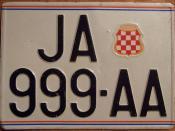 BOSNIA-HERZOGOVINA, CROATIAN HERZEG-BOSNA, JAJCE 1990's ---TWO LINE LICENSE PLATE