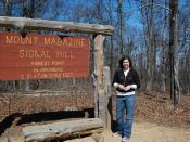 Megan at Mount Magazine sign