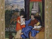 English: St. Matthew writing the Gospel with an angel holding the volume., an Islamic miniature c.1530