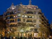 Casa Milà at dusk in Barcelona, Spain. The building is known either as 'Casa Milà' (the owner's name) and popular called 'La Pedrera' because of its look. Taken by myself with a Canon 5D and 24-105mm f/4L IS lens.