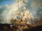 The Battle of Trafalgar by J. M. W. Turner (oil on canvas, 1822–1824) combines events from several moments during the battle
