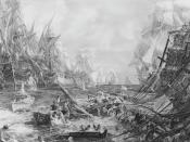 English: The Battle of Trafalgar. Nelson's overwhelming triumph over the combined Franco-Spanish fleet ensured Britain's protection from invasion for the remainder of the Napoleonic Wars.