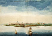 English: Gezicht op Nieuw Amsterdam by Johannes Vingboons (1664), an early picture of Nieuw Amsterdam made in the year when it was conquered by the English under Richard Nicolls. Français : Gezicht op Nieuw Amsterdam par Johannes Vingboons (1664), une rep