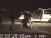 Screenshot of footage of King beaten by LAPD officers on March 3, 1991